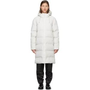 RAINS White Taffeta Puffer Coat