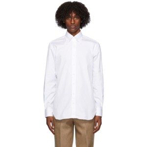 Husbands White Cotton Poplin Trento Shirt