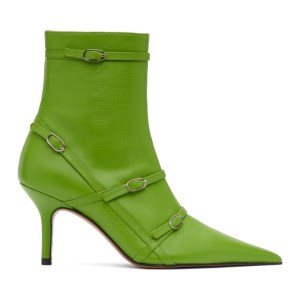 Abra Green Belt Heeled Ankle Boots
