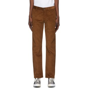 Naked and Famous Denim Brown Heavy Velvet Twill Tapered Chino Trousers