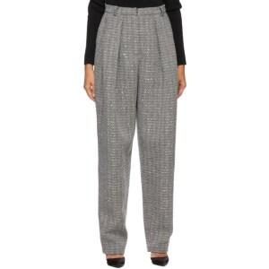 Magda Butrym Black and White Cashmere Herringbone Tapered Trousers