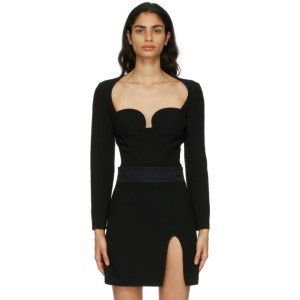 Magda Butrym Black Wool Bustier Bodysuit