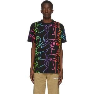 Marcelo Burlon County of Milan Black Graphic Faces T-Shirt