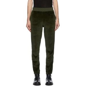 Haider Ackermann Khaki Velvet Logo Tape Lounge Pants