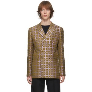 Haider Ackermann Purple and Green Double-Breasted Blazer