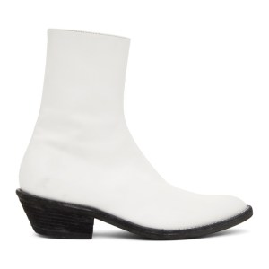 Haider Ackermann White Evening Chelsea Boots
