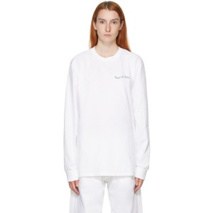Museum of Peace and Quiet White Warped Wordmark Long Sleeve T-Shirt