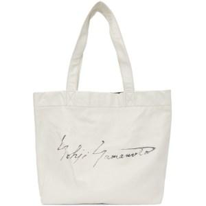 Yohji Yamamoto White Signature Logo Tote
