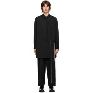 Yohji Yamamoto Black and Silver Wool Chain Shirt