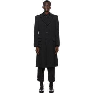 Yohji Yamamoto Black Long Print Coat