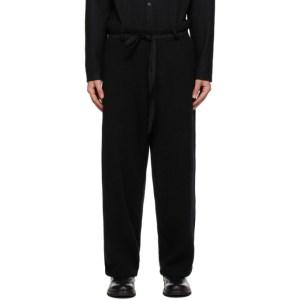 Yohji Yamamoto Black Wool Knit Trousers