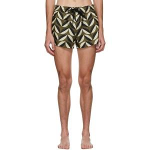 COMMAS Green and Beige Pavilion Tile Short Length Swim Shorts