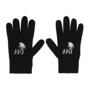 Off-White Black Wool Logo Gloves