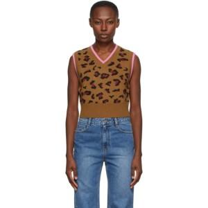 SJYP SSENSE Exclusive Brown Wool Leopard Vest