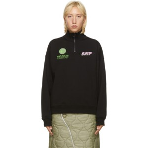 SJYP Black High Neck Zip-Up Sweatshirt