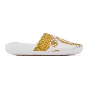 Versace Underwear White Baroque Slippers
