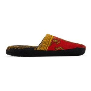 Versace Underwear Red Baroque Slippers