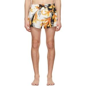 Versace Underwear Black and Gold Acanthus Swim Shorts