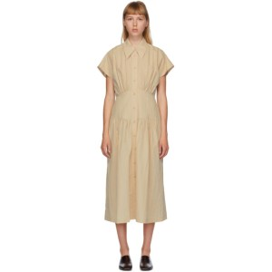 LOW CLASSIC Beige Waist Shirring Dress