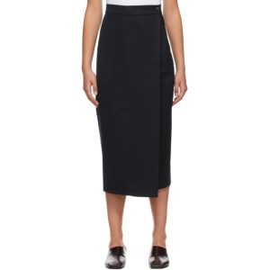 LOW CLASSIC Navy Classic Pleats Wrap Skirt
