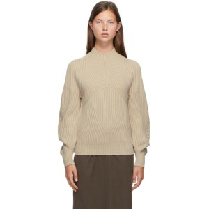 LOW CLASSIC Beige Whole Garment Raglan Turtleneck