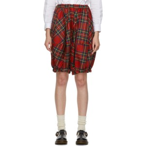 Comme des Garcons Girl Red Tartan Cropped Trousers