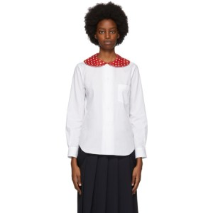 Comme des Garcons Girl White Polka Dot Collar Shirt