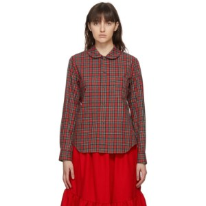 Comme des Garcons Girl Red Tartan Round Collar Shirt