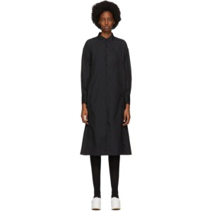 Noir Kei Ninomiya Black Cotton Button Detail Shirt Dress