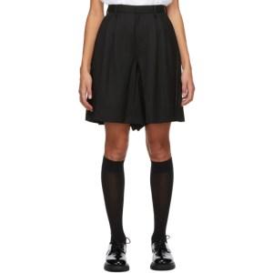 Noir Kei Ninomiya Black Panelled Pleat Shorts
