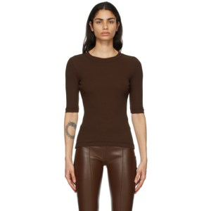 Rosetta Getty Brown Cropped Sleeve T-Shirt