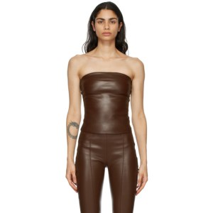 Rosetta Getty Brown Leather Strapless Top