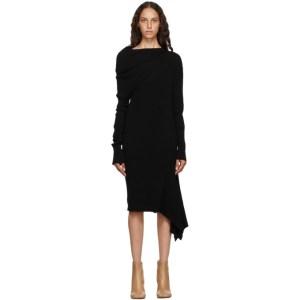 Marques Almeida Black Rib Knit Draped Dress