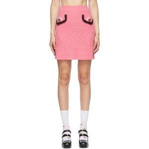 Moschino Pink Strawberry Applique Short Skirt