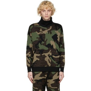 Moschino Green Wool Camo Turtleneck