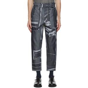 Issey Miyake Men Navy Triangle Jeans