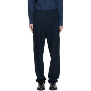 Issey Miyake Men Navy Panama Trousers
