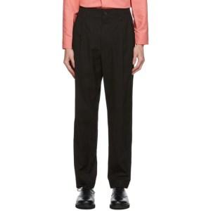 Issey Miyake Men Black Gabardine Trousers
