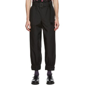Issey Miyake Men Black Belted Trousers