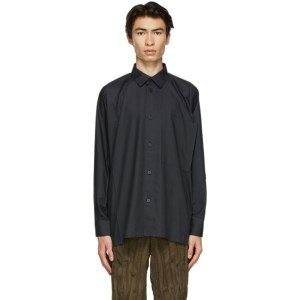 Issey Miyake Men Black Poplin Flat Shirt