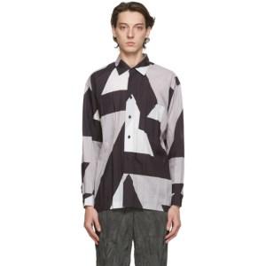 Issey Miyake Men Grey Printed Wrinkle Shirt