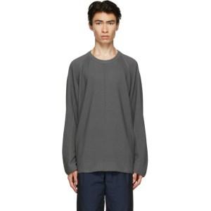 Issey Miyake Men Grey Knit Flat Sweater