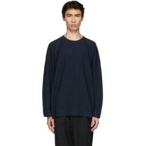 Issey Miyake Men Navy Knit Flat Sweater