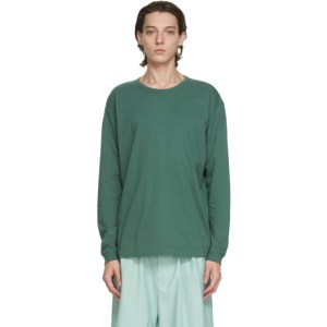 Issey Miyake Men Green Cotton Long Sleeve T-Shirt