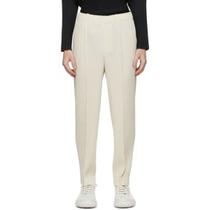 Homme Plisse Issey Miyake Beige Pleats Bottoms 2 Creased Trousers