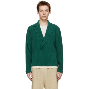 Homme Plisse Issey Miyake Green Tailored Pleats Double-Breasted Blazer