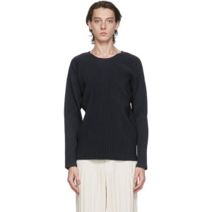 Homme Plisse Issey Miyake Navy Basics Long Sleeve T-Shirt