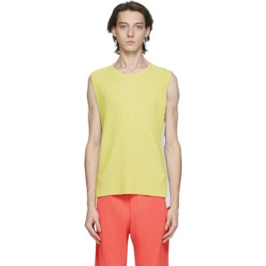 Homme Plisse Issey Miyake Yellow and Off-White Pleated Quartet Tank Top