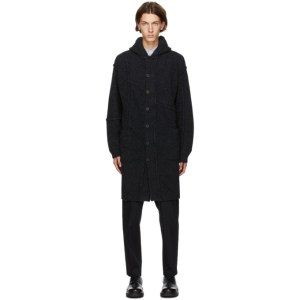 Isabel Benenato Grey Wool Hooded Coat