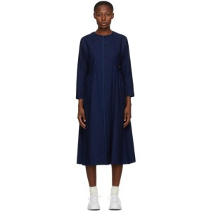 Blue Blue Japan Indigo Yarn-Dyed Flannel Dress